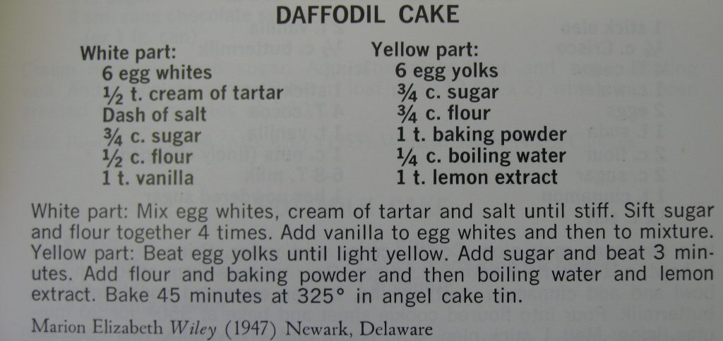 Daffodil Cake-Peace Cookbook