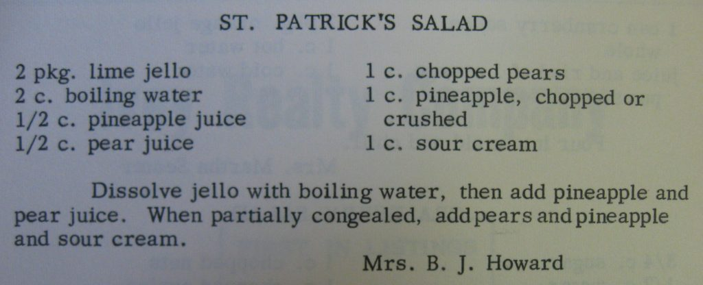 St. Patrick's salad - Favorite Recipes of Women's Fellowship of The United Church