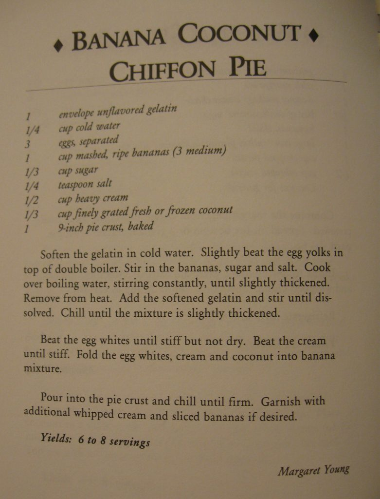 USED Banana Coconut Chiffon Pie - Granny's Drawers