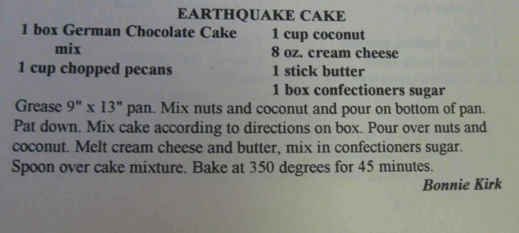 USED Earthquake Cake-Cane Creek Cookbook