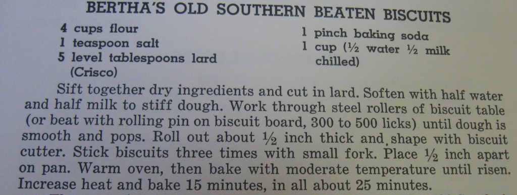 Betha's Old Southern Beaten Biscuits-Favorite Recipes of the Lower Cape Fear