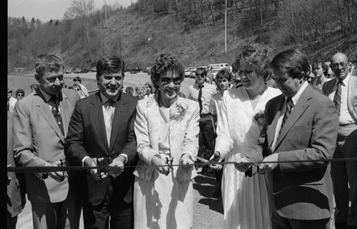 Holshouser at dedication of N.C. Highway 321 near Boone, also named Holshouser Highway. Then-Governor James G. Martin is second from left.
