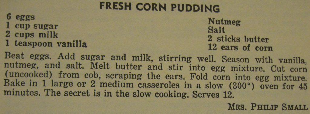 Fresh corn pudding - The Charlotte Cookbook