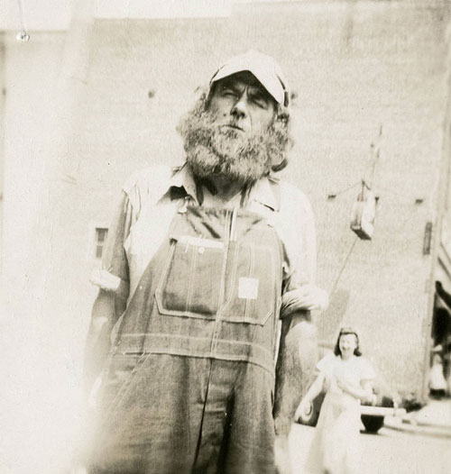 Portrait of Charles McCartney, the Goat Man, from the 1950s. Image from Davie County Public Library