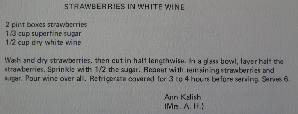 USE Strawberries in white wine - Classic Cookbook of Duke Hospital