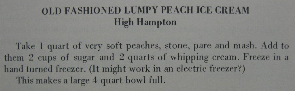 old fashioned lumpy peach ice cream - High Hampton Hospitality