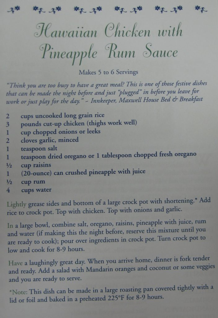Hawaiian Chicken with Pineapple Rum Sauce - North Carolina Bed&Breakfast Cookbook