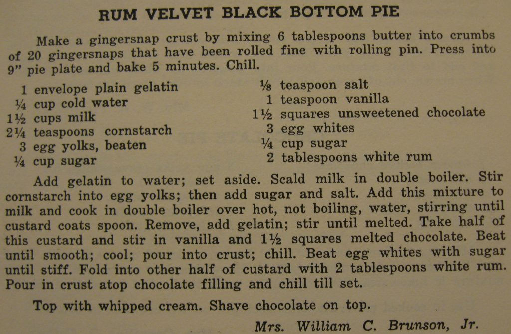 Rum velvet black bottom pie - Carolina Cooking