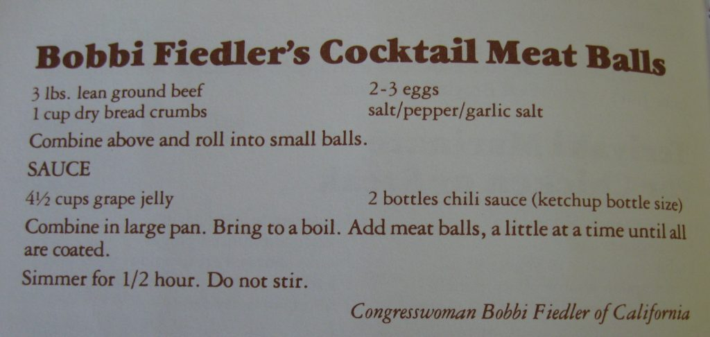 Bobbi Fielder's Cocktail Meatballs - Capitol Cook Book