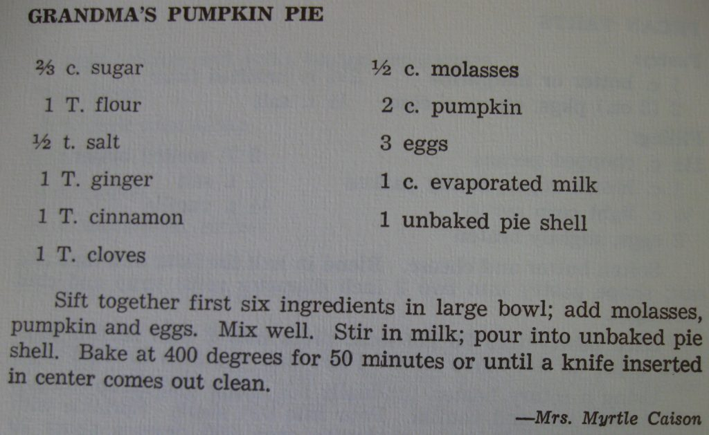 Grandma's pumpkin pie - Historic Moores Creek Cook Book