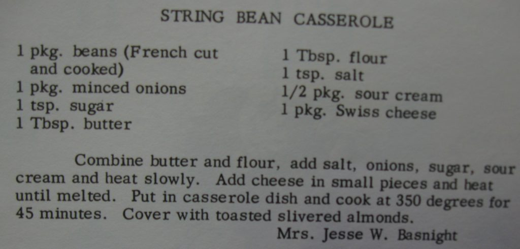 String bean casserole - Favorite Recipes of Women's Fellowship of The United Church