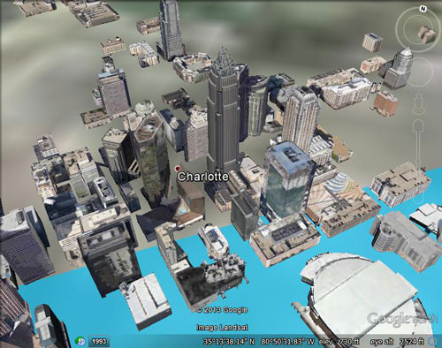 Charlotte with 220 meters of sea level rise