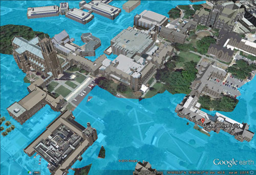 Duke University at 120 meters of sea level rise