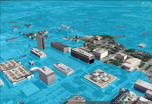 Image of Raleigh with 105 meters of sea level rise