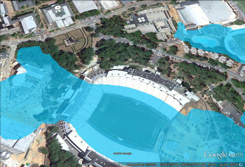 Kenan Stadium with 135 meters of sea level rise