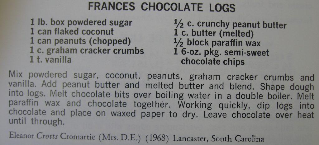Frances Chocolate Logs-Peace Cookbook