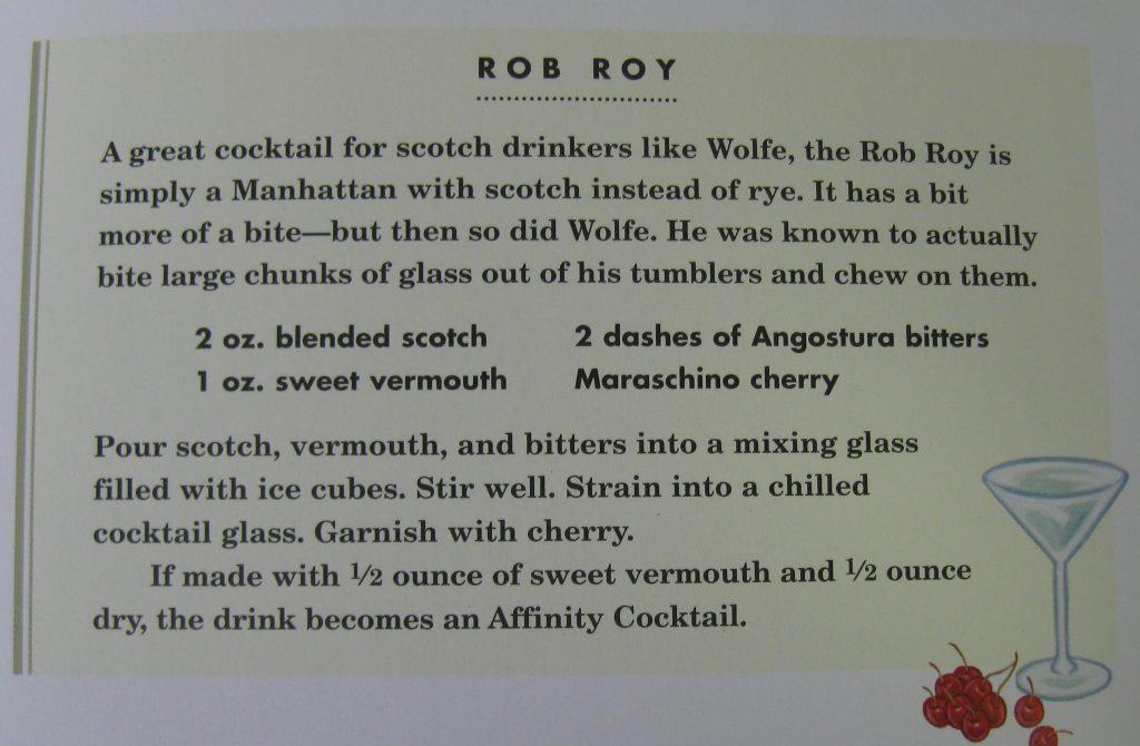 Rob Roy - Hemingway & Bailey's Bartending Guide