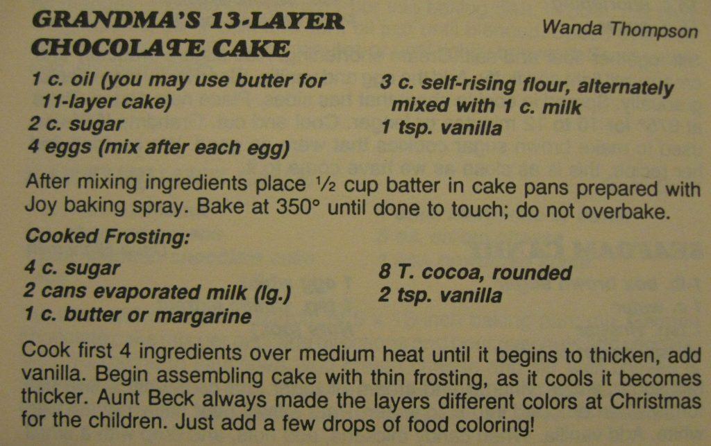 grandma's 13-layer chocolate cake - Columbus County Cookbook II