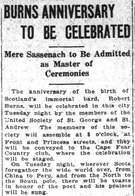 Article on Burns Anniversary Celebrations in Wilmington, Jan. 23, 1921