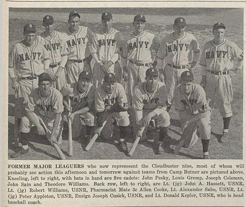 The Cloudbuster Nine, major league veterans on Naval Pre-flight baseball team