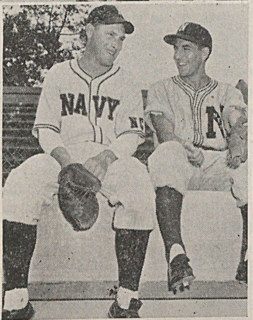 Buddy Hassett (l) and Phil Rizzuto at Emerson Field.