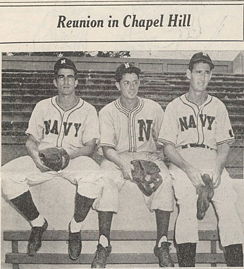 Former Red Sox teammates Johnny Pesky, Dom DiMaggio and Ted Williams in Chapel Hill.