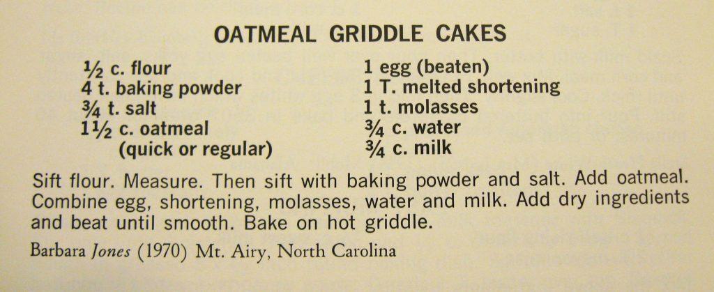 USE Oatmeal Griddle Cakes - Peace Cookbook