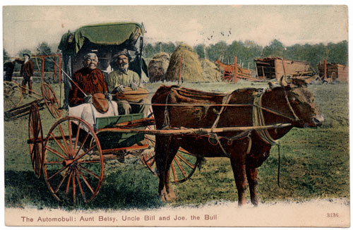 Postcard of Aunt Betsy, Uncle Bill and Joe the Bull