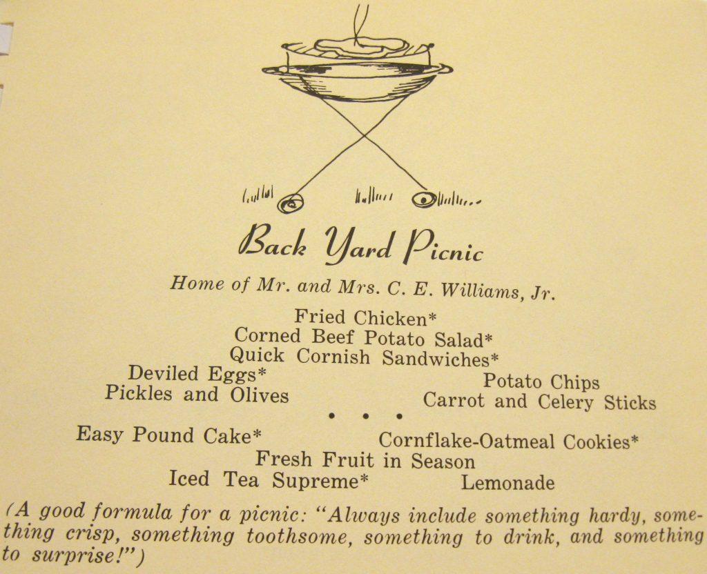 Menu for back yard picnic - The Charlotte Cookbook