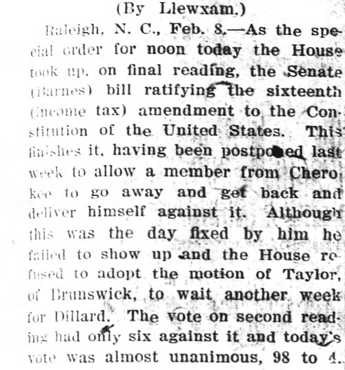 Clip from Wilmington Dispatch, Feb. 8, 1911