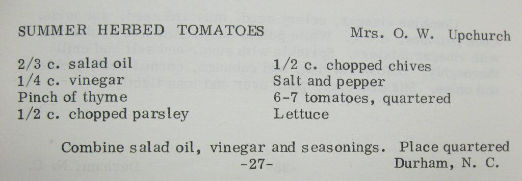 Summer Herbed Tomatoes-Good Eatin' from Duke Memorial