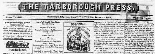 Masthead from Tarboro' press.