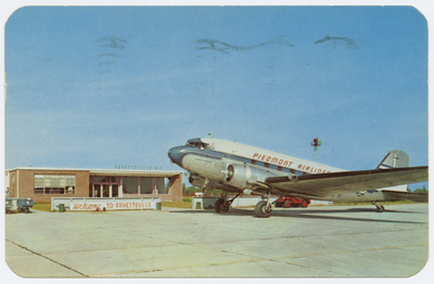 Postcard of View of a Piedmont Airlines plane at Fayetteville's Municipal Airport, ca. 1953.