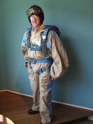man in parachute gear