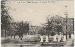 Postcard of women on Shaw campus