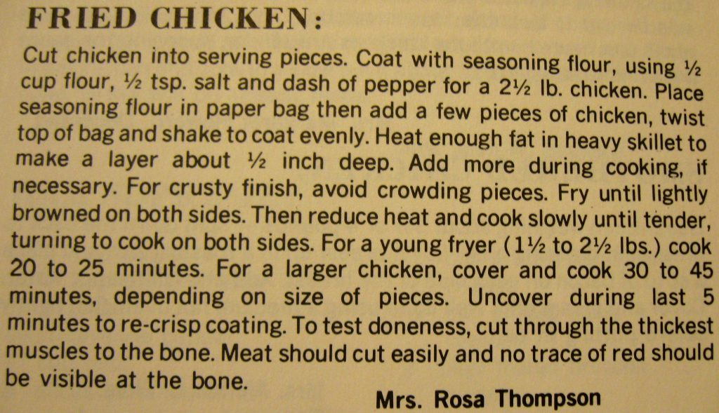 Fried chicken - Hyde County Cookbook