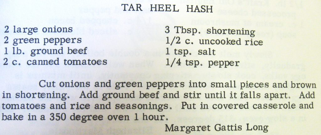 Tar Heel hash - Favorite Recipes of Women's Fellowship of The United Church