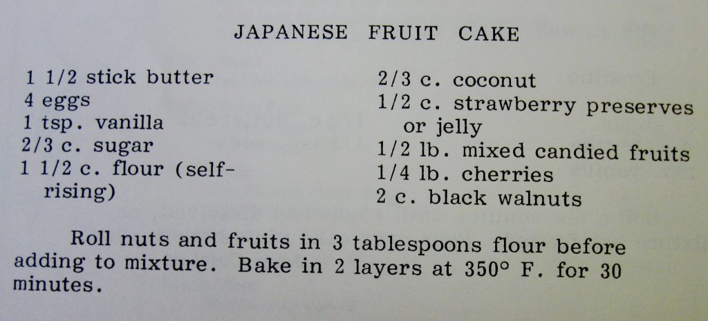 Japanese Fruit Cake - What's Cookin' in 1822