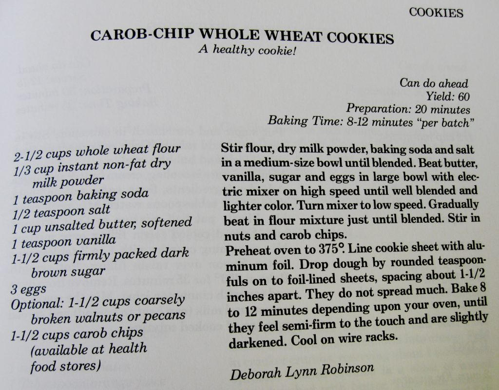 Carob-Chip Whole Wheat Cookies - Mountain Elegance