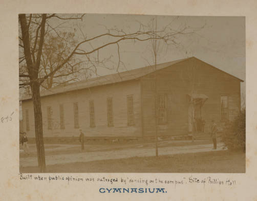 Image of gym from the Battle album. Phillips Hall currently sits at the site.