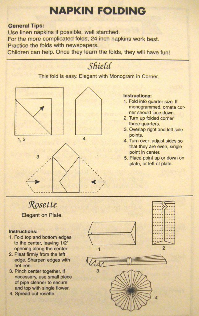 USED 3-26-15 napkin folding 1 - Columbus County Cookbook II
