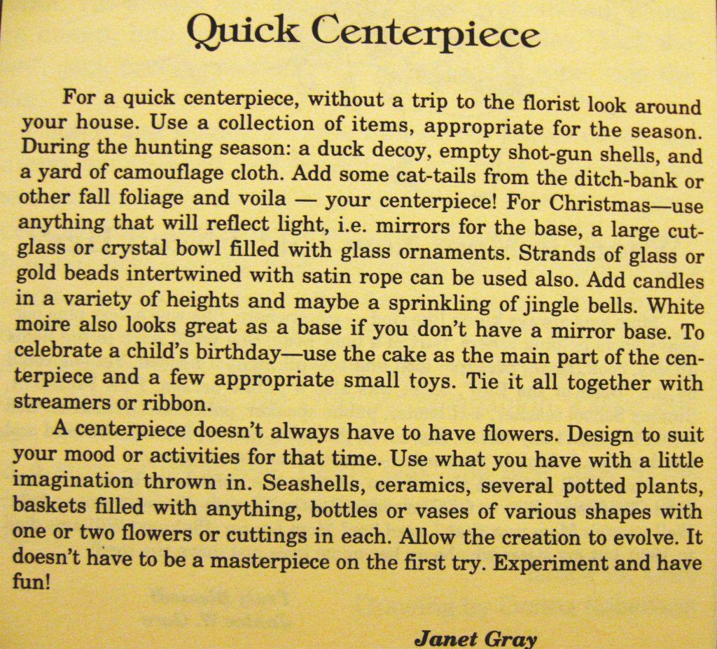 USED 3-26-15 quick centerpiece - Columbus County Cookbook II