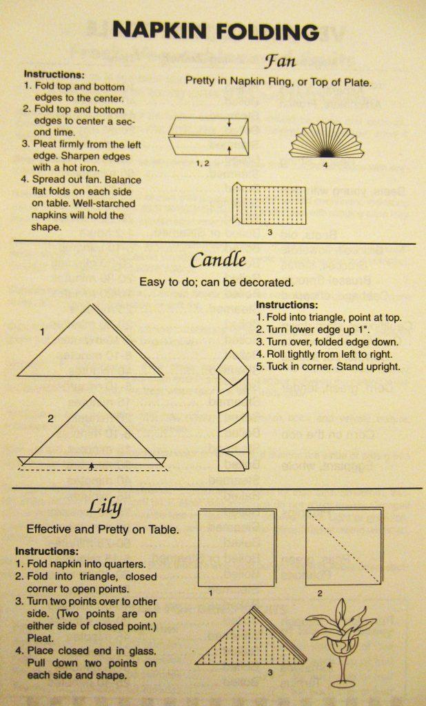 napking folding 2 - Columbus County Cookbook II