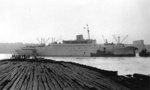 The Stockholm after its collision with the Andrea Doria. Image from John Oxley Library, State Library of Queensland, Australia.