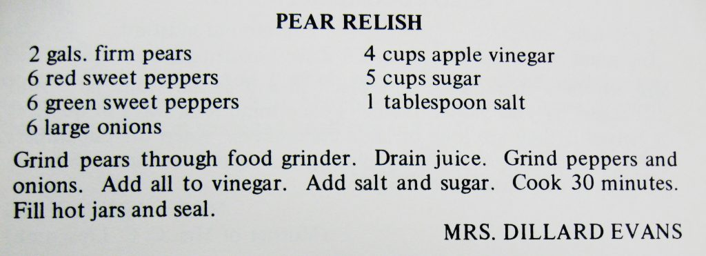 USED 7-9-15 Pear Relish - A Taste of the Old and the New