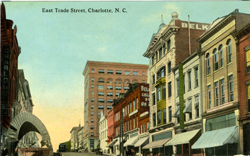 Postcard of East Trade Street, Charlotte, NC with Belk store in center of image