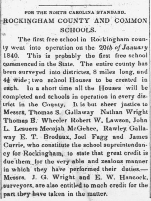 The first free school in North Carolina opens in Rockingham County on January 20, 1840.