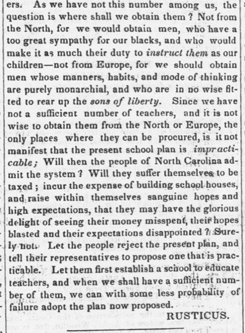Rusticus writes a letter to the editor against free public schools in the  August 7, 1839 issue of the North-Carolina Standard.