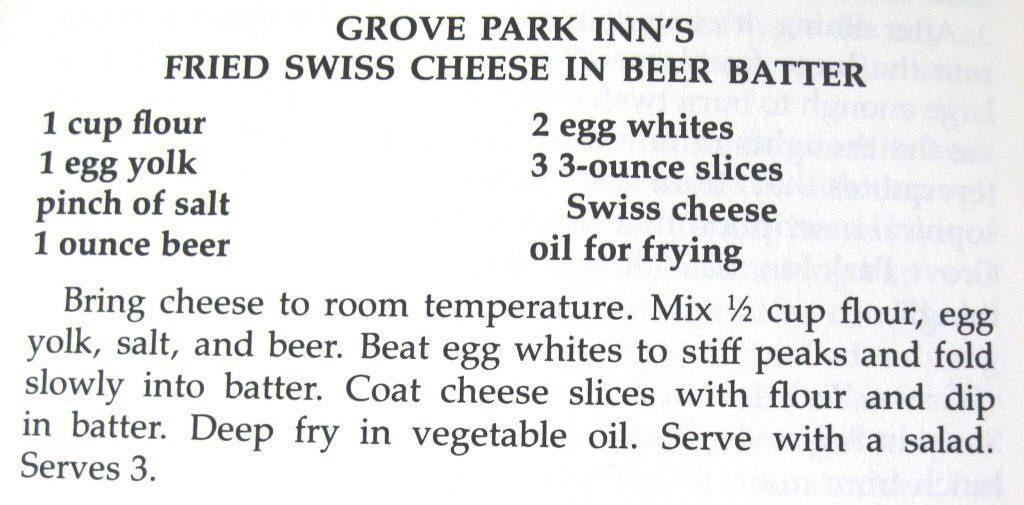 Grove Park Inn's Fried Swiss Cheese in Beer Batter - Historic Restaurants