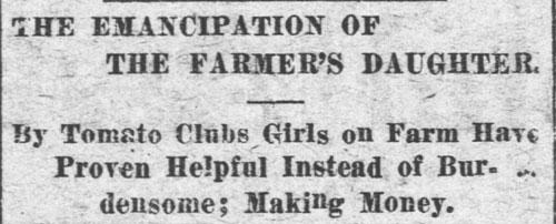 """Emancipation of Farmers Daughter"" headline from Western Caroliina Democrat"